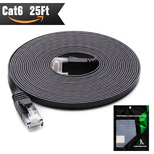 Cat 6 Ethernet Cable 25 ft (At a Cat5e Price but Higher Bandwidth) Cat6 Internet Network Cable - Flat Ethernet Patch Cable Short - Black Computer Lan Cable + Free (Composite Video Coupler)