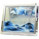 """YayaCat Deep Sea Sand Picture Desktop Sandscapes Art Glass Sculptures in Motion Mini Size(7""""×5"""", Blue)"""