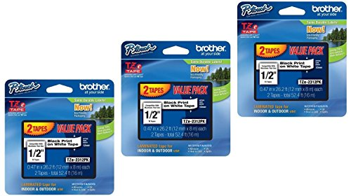 Brother Laminated Black On White Tape 2Pack (TZe2312PK) (6-PACK) (3 x 2-pack)