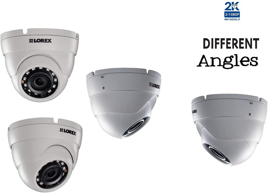 Lorex LNE4172 4MP High Definition IP Camera with Color Night Vision – 4 White Dome Cameras