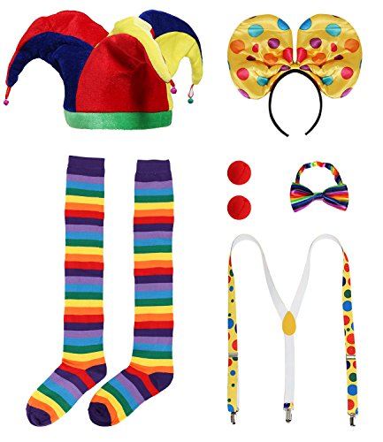 JustinCostume Clown Accessories Wig/Hat Socks Nose Bowtie Suspenders, B