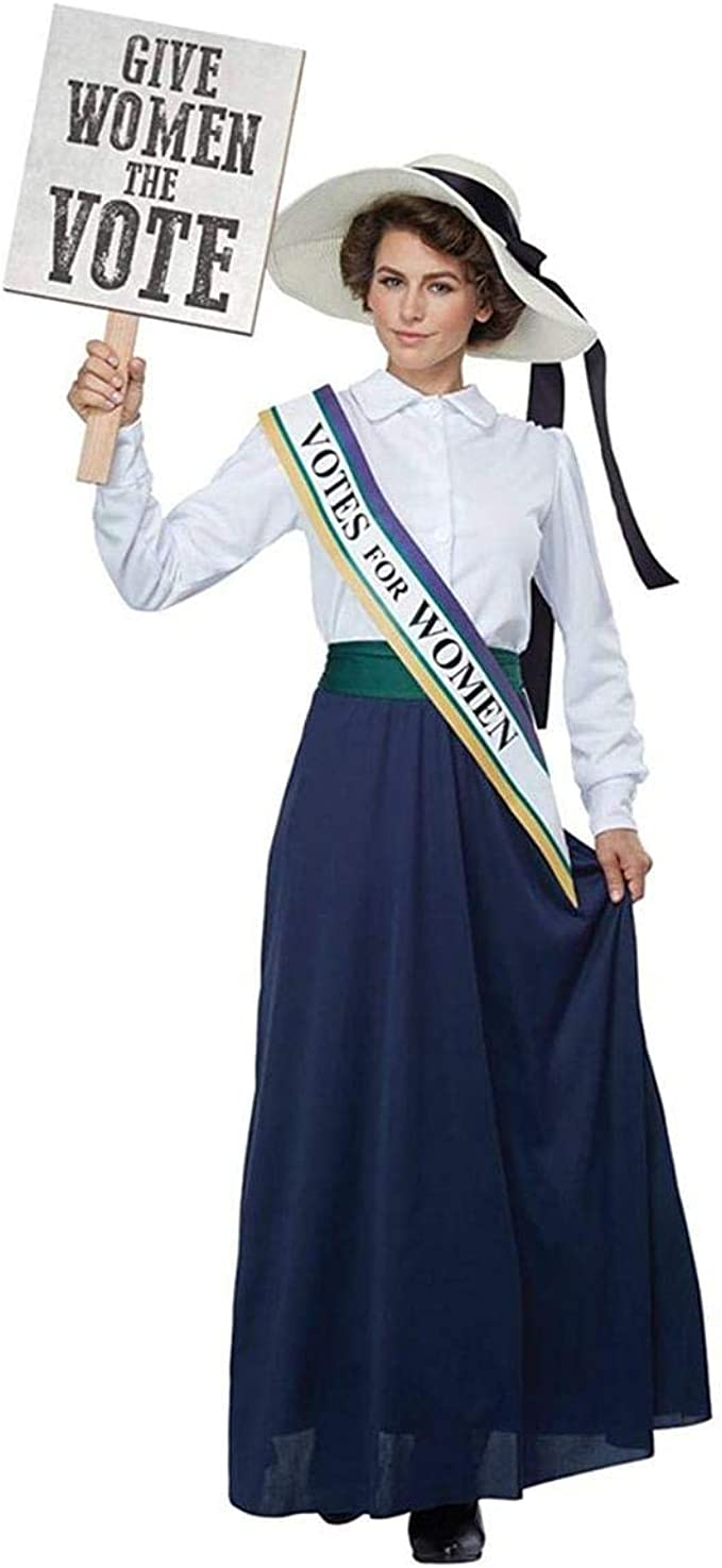 1900s, 1910s, WW1, Titanic Costumes California Costumes Womens American Suffragette - Adult Costume Adult Costume White/Navy Extra Small $49.99 AT vintagedancer.com