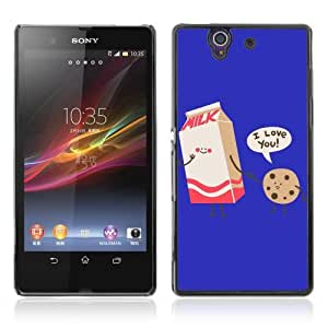 Designer Depo Hard Protection Case for Sony Xperia Z L36H / I Love You Milk & Cookie