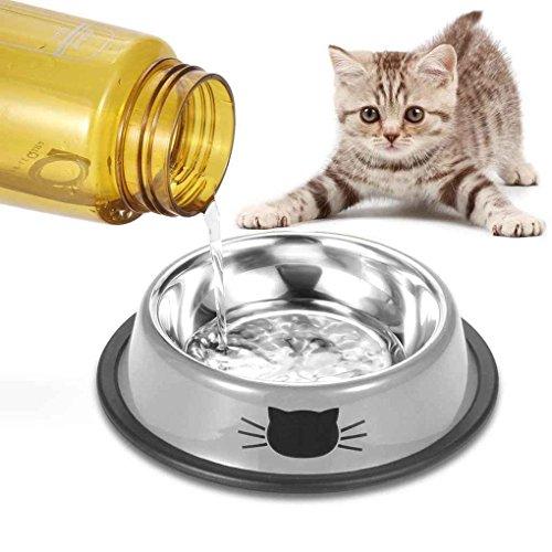 cucciolo acciaio da cani Bianco gatti per gattina scivolosa per cani di con Grigio non in LUFA per taglia Ciotola piccola inox tAq4W