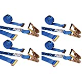 2'' X 20' E-Track Ratchet Strap with Spring E Fittings, for Interior Van Trailers - 4 Pack