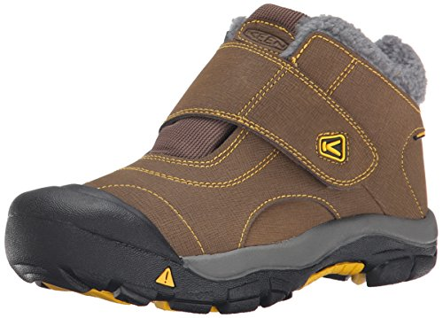 KEEN Kootenay Waterproof Winter Boot (Little Kid/Big Kid), Dark Earth/Spectra Yellow, 4 M US Big Kid by KEEN