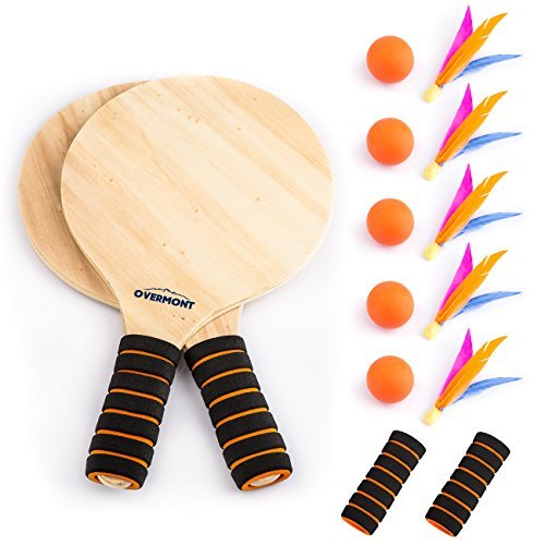 Beach Paddleball Set - Overmont Game Set Beach Paddle Set Camping Gear with Wooden Racket Beachball Badminton Racquet Cricket Ball Shuttlecock Game and Family Training Kids Children's Office Outdoor Sports