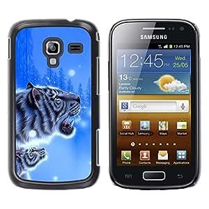 TopCaseStore / la caja del caucho duro de la cubierta de protección de la piel - Tiger Blue Winter Poster Cub Snow Nature - Samsung Galaxy Ace 2 I8160 Ace II X S7560M