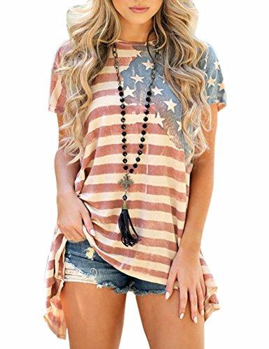 Sexyshine Women's American Flag Striped Short Sleeve Loose Blouse T-Shirt Tunic Tees - Us Flag Shirts