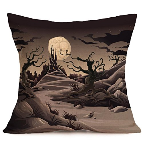 Halloween Pillow Cases,SUPPION Happy Halloween Pillow Cases Linen Sofa Cushion Cover Home Decor(8 kinds of patterns) (New Madea Halloween)