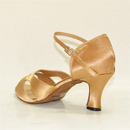 Scarpe Q basso T Giallo Tango latino chiaro donna Scarpe Jazz Sandali da Esibizione coperto al satinati Tacchi ballo Altalena T col da tacco Salsa chiaro Giallo 7fw5q7z