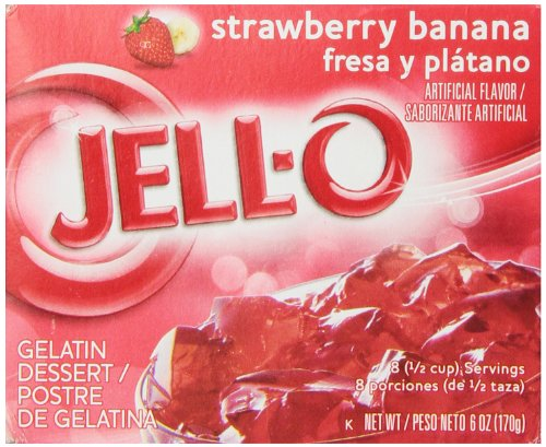 (JELL-O Strawberry Banana Gelatin Dessert Mix (6 oz Boxes, Pack of 6))