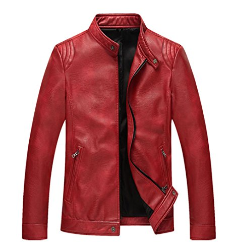 DPO Men's PU Leather Zip-up Stand Collar Moto Jacket (US S(Asian XL), red)