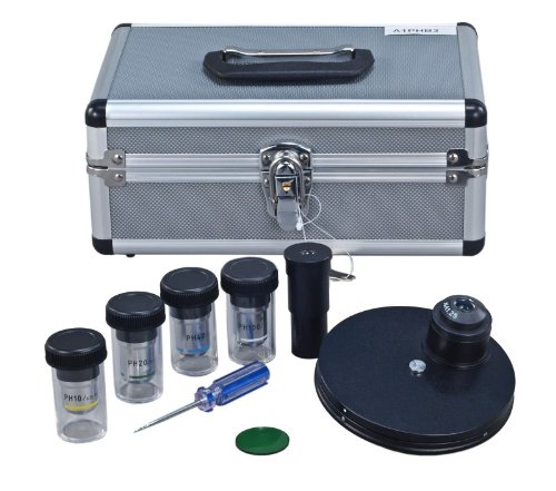 OMAX Phase Contrast Kit with Turret Control and Four Phase Contrast Objectives (10X, 20X, 40X, 100X) by OMAX