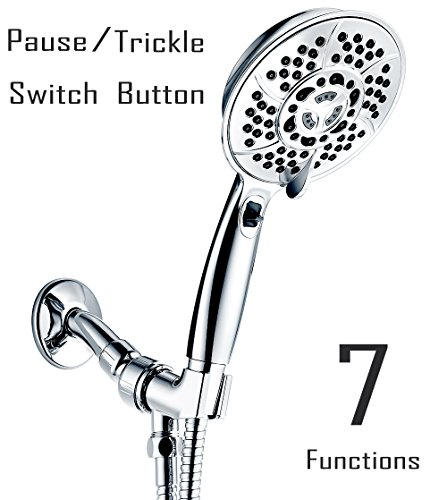 Handheld Shower Head, Wassern High Pressure 7 Setting 81 Jets Rainfull Massage Water Saving Trickle Pause Extra Long 80'' Stainless Steel Hose Angle Adjustable Bracket 5.2'' Chrome-Charity: - Shower Handheld Pause Control