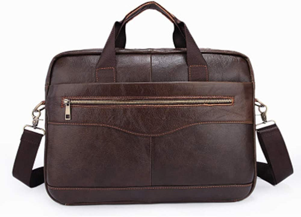 Techecho Vintage Handbag Women Mens Solid Color Full Grain Leather Handbag Briefcase Business Casual Mens Bag Cross Section Oblique Head Layer Leather Computer Bag Color : Light Brown
