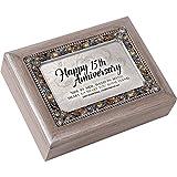 Happy 15th Anniversary Jeweled Pewter Colored Keepsake Music Box Plays Amazing Grace