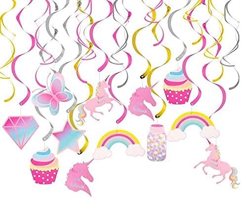 Sayala 30Ct Decoraciones para Cumpleaños - Unicornio Colgante Remolino Decoraciones Suministros Partido Unicornio Serpentinas para Niños Cumpleaños ...