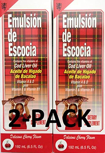 Emulsion De Escocia Cherry 6.5 Oz. Cod Liver Oil 2-PACK (Emulsion Scott)