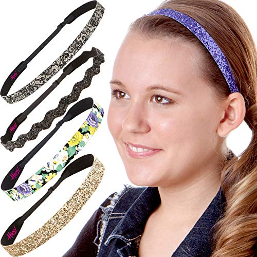 Hipsy Cute Fashion Adjustable No Slip Hairband Headbands for Women Girls & Teens (Purple Flower Vine 5pk) -