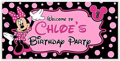 Minnie Mouse Birthday Banner Personalized Custom Party Backdrop Decoration ()