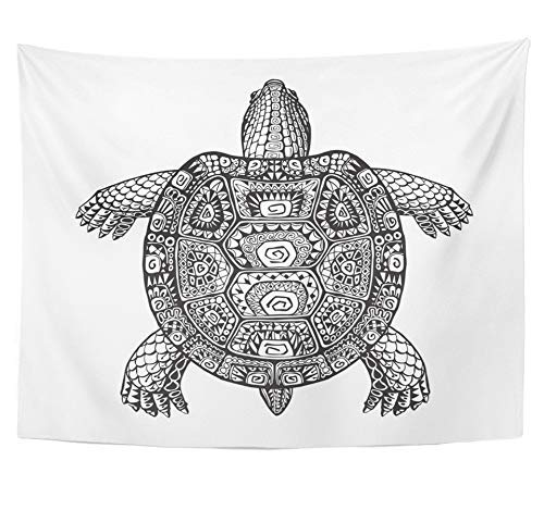 SPXUBZ Wall Tapestry Tortoise Turtle Ethnic Graphic Style with Patterns Totem Animal Desert Dinosaur Wall Hanging Decoration Soft Fabric Tapestry Perfect Print for House Rooms