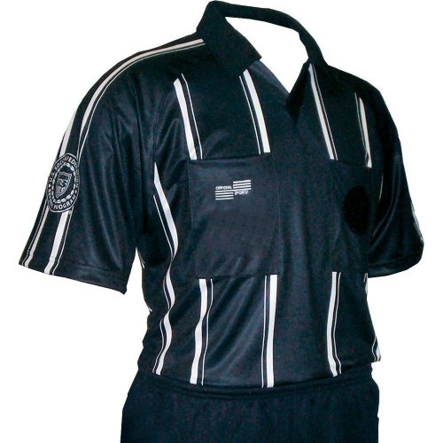 Black Short Sleeve Economy Shirt (USSF Economy Referee Raglan Short Sleeve Stripe Shirt Black (Adult XXL))