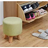 Footstool Padded Round Wood Elegant Small Osman Makeup Stool Detachable Linen Cover Green Weight 200kg (28cmx25cm)