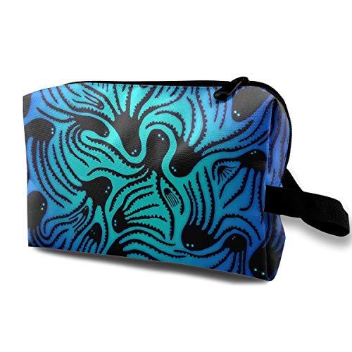 Jingclor Travel Case Cosmetic Storage Bags Artistic Octopus Blue Ocean Makeup Clutch Pouch Zipper Wallet Pencil Holder