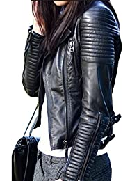 Simplee Apparel Women's Zip-Up PU Leather Bomber Moto Jacket Coats Outwear Black