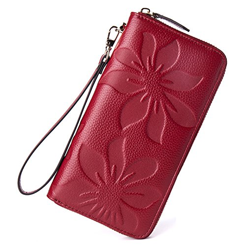 BOSTANTEN Womens Leather Wallets Credit Card Cash Holder Large Capacity Clutch Wristlet Wine Red