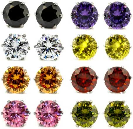 JewelrieShop Lady 8 Pairs Round Square Cuts Stud Earrings, Stainless Steel Cubic Zirconia Rings Set