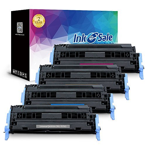 (INK E-SALE Compatible Toner Cartridge Replacement for HP 124A Q6000A Q6001A Q6002A Q6003A (KCMY, 4-Pack), for use with HP Color Laserjet 1600 2600n 2605 1015 1017 2605dn 2605dtn CM1015 CM1017)