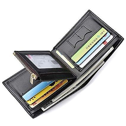 Billetera Bifold Hombres Sailinna Bloqueo Carteras Zip Monedero Slots SIM Carteras de Titular de Tarjeta de crédito (A-Black(12 x 10 x 1.5cm))