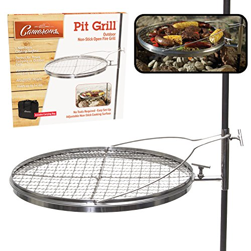 Campfire Pit Grill - Open Fire Swivel Camping Grill with XL Non-Stick Grilling Surface and Carrying Bag