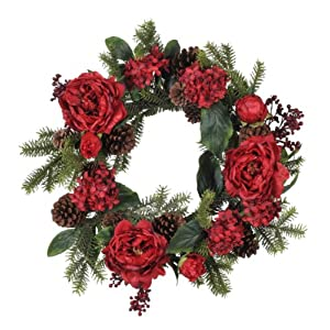 House of Silk Flowers 22-inch Red Peony/Hydrangea/Berry/Pine Wreath 12