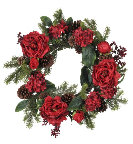 House-of-Silk-Flowers-Artificial-Red-PeonyHydrangeaBerryPine-Wreath-22-Inch
