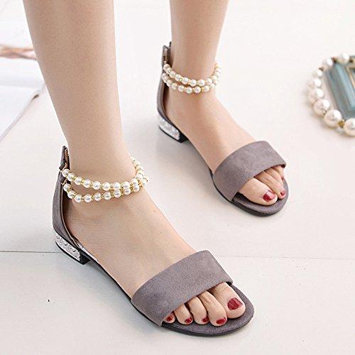 Sandalen Rome Bohemia Toe Kingko® Basic Perlen Ballerinas Ankle Grau Damen Schuhe Peep Strap qn6gZ