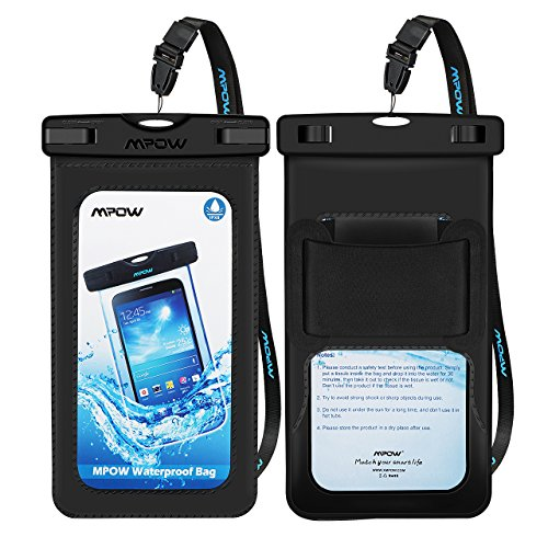 Mpow Upgraded Waterproof Case with Armband, IPX8 Universal Cell Phone Dry Bag Waterproof Pouch Bag for iPhone Xs Max/Xs/Xr/X/8/8Plus/7, Samsung Galaxy, Note 9/8, HTC, Google Pixel (Black 2 PACK) (Haze Deck)