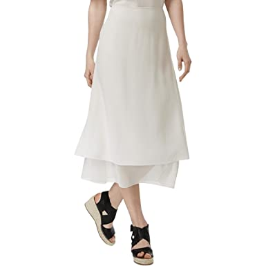 a392b804ce Eileen Fisher Womens Silk Layered Maxi Skirt Ivory M at Amazon Women's  Clothing store:
