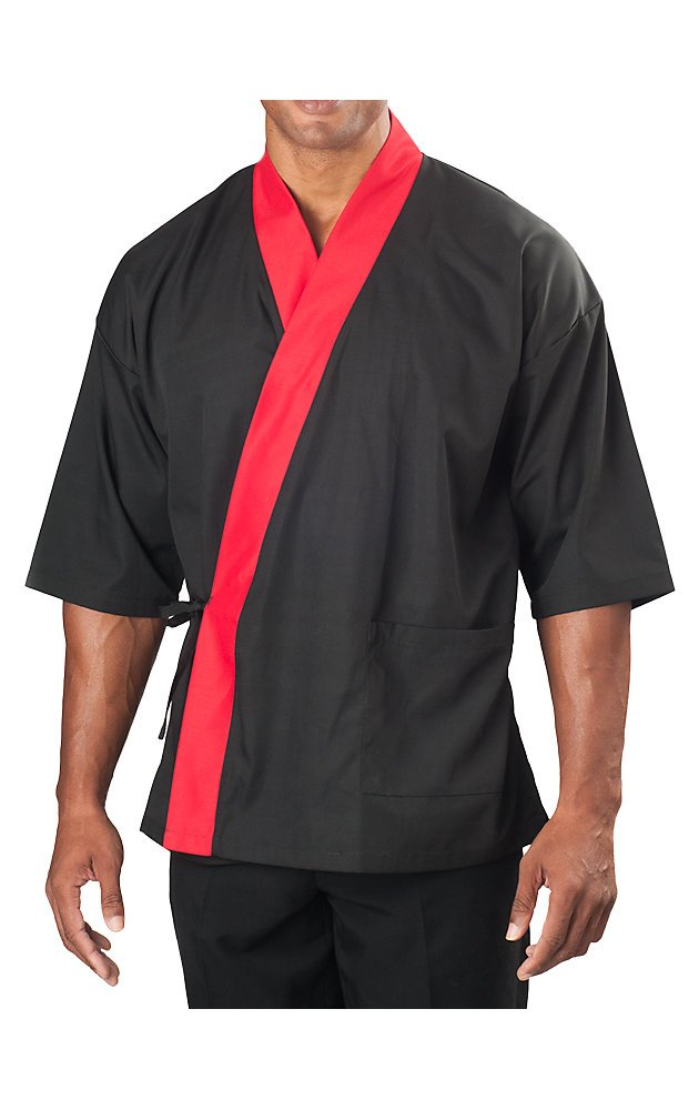 KNG ¾ Sleeve Sushi Coat, Black with Red Accent, 3XL by KNG