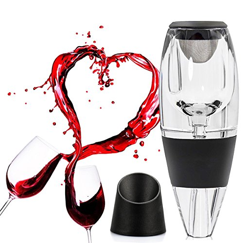 Premium Wine Aerator Decanter Set – Red Wine Pourer & Diffuser with Gift Box, Stand, Velvet (Bartender From Love Boat)
