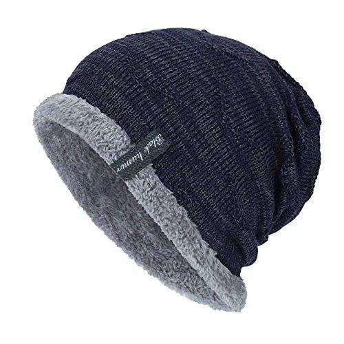 Cithy Women Men Winter Crochet Hat Wool Knit Beanie Warm Caps Knit Ski Beanie Skull Slouchy Caps Hat (Navy)