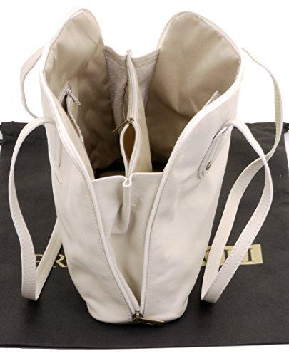 de sac main de protection marque de en Primo Sacchi® comprend à souple italien rangement bandoulière grand à cuir manche sac à Crème long un xqHwAx8a