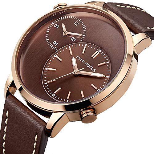 Men's Business Quartz Watch Dual Time Zone Japanes Movement Man Brown Leather Wristwatch Waterproof ()