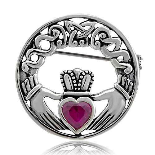 WithLoveSilver Sterling Silver 925 Charm Synthetic Ruby stone Claddagh Celtic Iris Friendship Brooch Pin