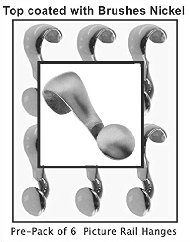 Pre-Pack of 6 Mini-Picture Rail hangers, handmade of Solid Brass with BRUSHED NICKEL Top coat. The pictures will tell the full story of the exception …