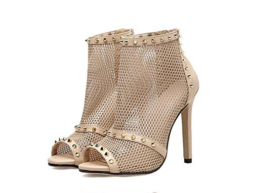 Onfly OL Pure Zipper Party Shoes 40 Net 11 Hollow Mesh Court Rivets Shoes Dress 34 Stiletto Pump Boots Eu Peep Cool Size Boots Ankel Boots Sexy Color 5cm Toe Beige Yarn Women BarBq