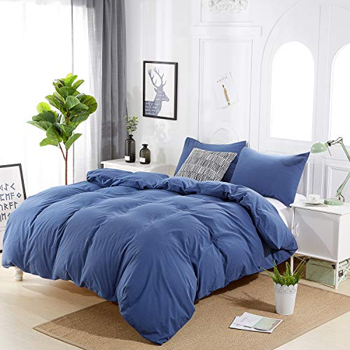 Rural Dandelion 100% Washed Cotton Duvet Cover Bedding Set, Healthy,Luxurious, Comfortable, Breathable, Soft and Extremely Durable, Full/Queen, Blue Durable Cotton Duvet Cover