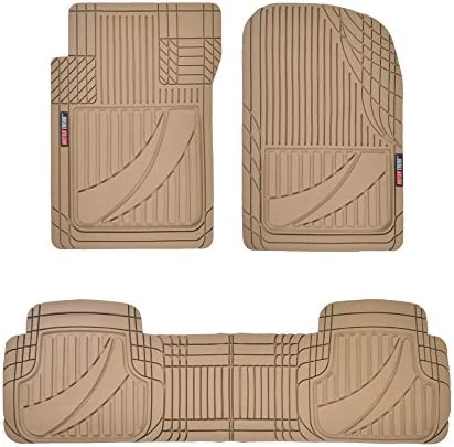 Motor Trend FlexTough Advanced Beige Rubber Car Floor Mats – 3 Piece Trim to Fit Floor Mats for Cars Truck SUV, All Weather Automotive Liners with Traction Grips and Multiple Trim Lines